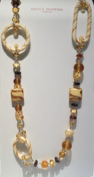 "Amber and Ivory Italian glass bead necklace 34"" long"