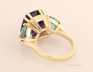 Three Stone Ring with Amethyst and Blue Zircon Back View
