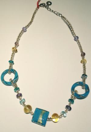 Aqua and Gold Italian glass bead necklace