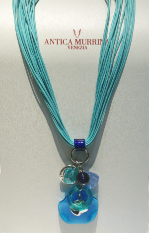 Italian Glass in Aqua with leather necklace