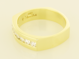 14KT yellow gold gents ring set with .70ct. diamonds