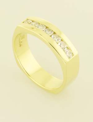 14KT yellow gold gents ring set with .70ct. diamonds back view