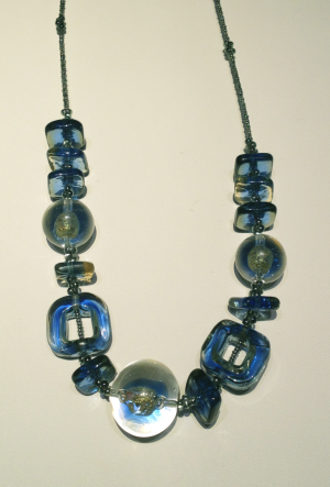 "Blue Italian glass bead necklace 20"" long."