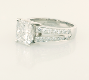 Diamond Engagement ring with 3.01ct Cushion Diamond and pavé accents .75 view