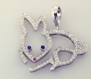 Diamond and white gold bunny pendant 1.26cts., enlarged