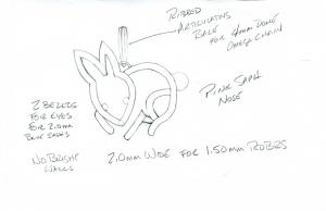 Drawing for  Diamond and white gold bunny pendant 1.26cts.