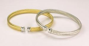 Sterling Silver Vermeil 4mm Woven Cuff Bracelet in !8KT Yellow or White Vermeil