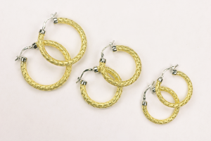 18kt White and Yellow Gold Vermeil on Sterling Silver hoop earrings in three sizes