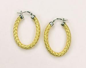 18KT Yellow Gold Vermeil on Sterling Silver Oval hoop earrings 35mm