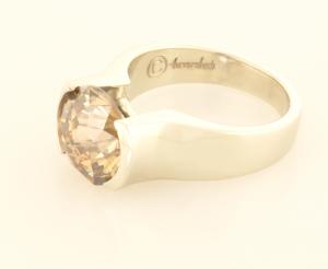 3.80ct. round cognac diamond set in 14kt white gold ring