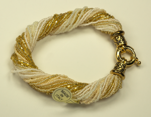 Italian Glass Bead Multi Strand Cream Colored Bracelets