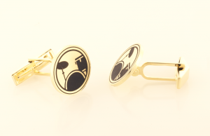 Cufflinks in 14KT yellow Drum set motif Side view
