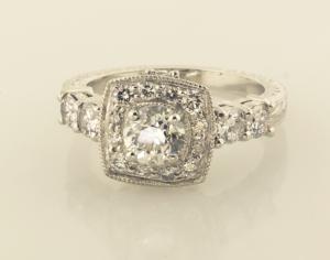 Engraved Surround Diamond Solitaire