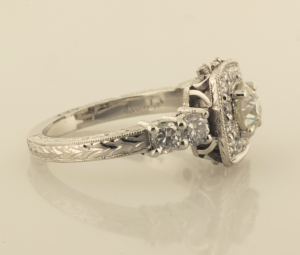 Engraved Surround Diamond Solitaire