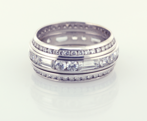 Diamond and Platinum eternity band set with round ,baguetted diamonds and wings