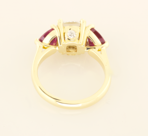 Three Stone Ring with 3.01ct Dia and side rubies in 18KT Yellow back view