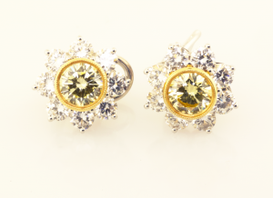 Natural Fancy Yellow Diamond Starbusrt Earrings