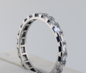 Diamond Baguette eternity band in platinum, prong set Close up view