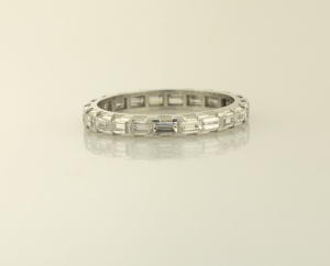 Diamond baguette eternity band prong and channel set