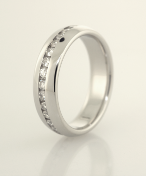 Patinum and  Round Diamond Eternity Band with Wider Dome Edges, a Copyrighted Original by Thomas Michaels Designers, Inc.