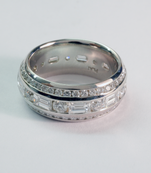 Eternity Band round and baguette shaped diamonds with beveled round diamond eternity bands