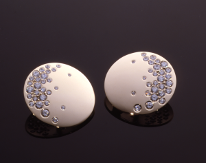 Diamond (3.04ct.) and gold lunar crescent earrings