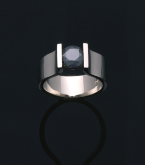 Black Diamond (1.00ct.) and 18KT white gold solitaire ring