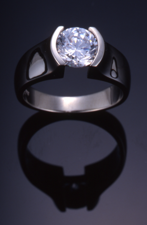 Diamond (1.50ct.) and 18kt white gold contemporary solitaire