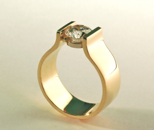 Gold and diamond (1.00ct.) modern solitaire ring