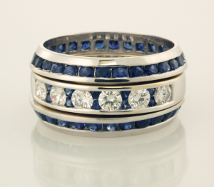Diamond and Sapphire Ring with Two Sapphire Eternity Bands