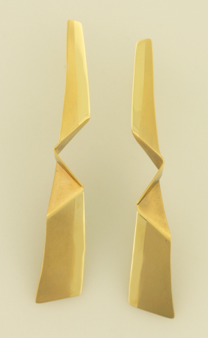 Folded Gold Origami Earrings copyrighted original be Nora Hattman-Michaels
