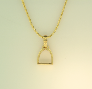 14KT yellow gold large stirrup pendant on 14KT yellow gold chain