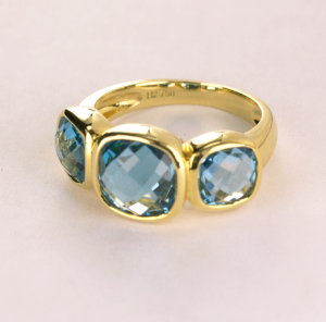 Blue Topaz Bezel Set Three Stone RIng in 18KT Yellow Gold