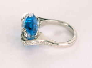marquise Shape Blue Topaz and Diamond 18KT white gold ring side