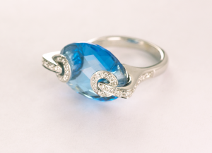 Marquise Shape Blue Topaz and Diamond 18KT white gold ring