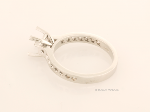 Platinum Solitaire Ring Before Setting Side View