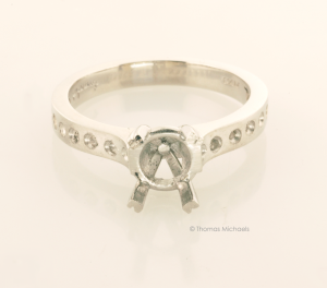 Platinum Solitaire Ring Before Setting Front View