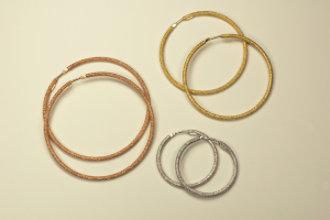 Hoop Earrings in 18KT White, Yellow and Rose Vermeil on Sterling Silver