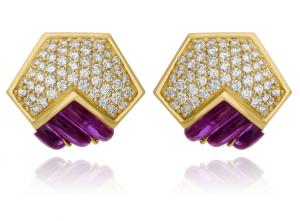 Fluted Amethyst & Diamond Earrings Set in 18kt Yellow Gold