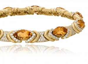 Diamond and Citrine necklace set in 18KT yellwo gold