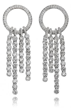 Cascade of diamonds earrings in 18KT white