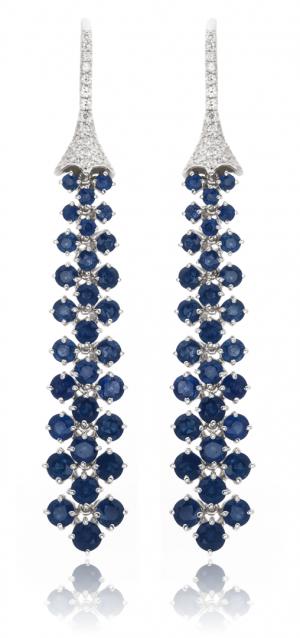 Earrings of sapphires and diamonds, flexible drop earrings