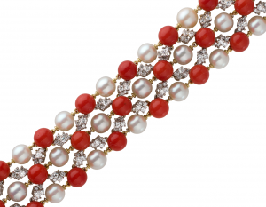 Bracelet, flexible in coral, pearls, diamond and 18KT white and yellow gold