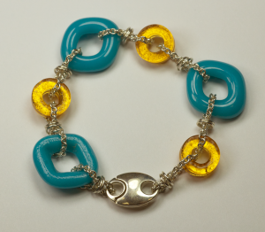 Sterling Silver & glass bracelet by Nora, Aqua & Gold