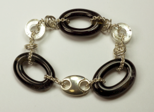 Sterling Silver & glass bracelet by Nora, Black & White