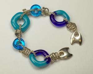 Sterling Silver & glass bracelet by Nora, Blue & Aqua