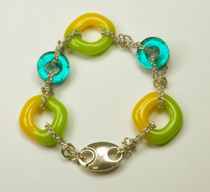 Sterling Silver & glass bracelet by Nora, Green, Gold, Aqua