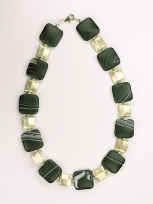 Agate and Sterling Silver Bead Necklace