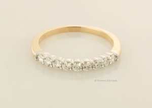 Platinum and 14KT YG Nine Diamonds Ring
