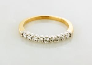 Diamond nine stone Wedding Ring Platinum and 14KT yellow gold